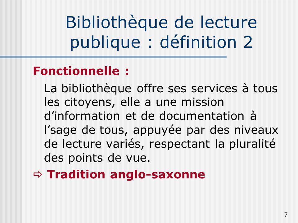 Bibliothèque de lecture publique : définition 2