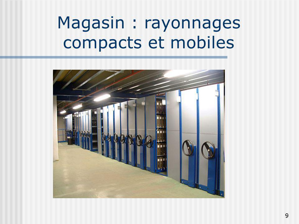 Magasin : rayonnages compacts et mobiles