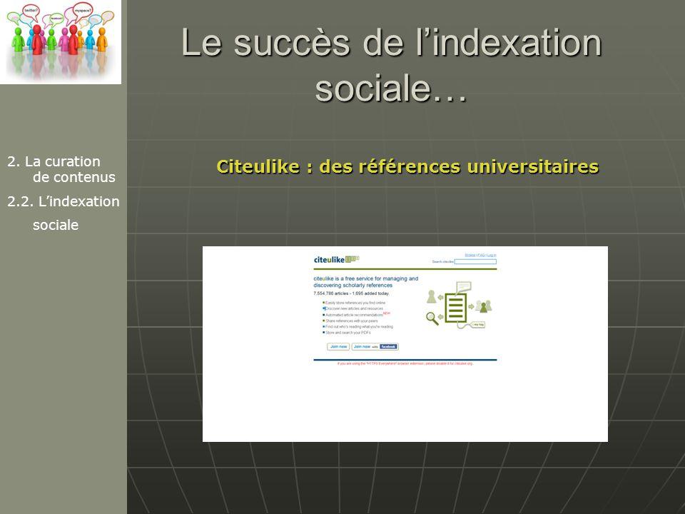 Le succès de l'indexation sociale…
