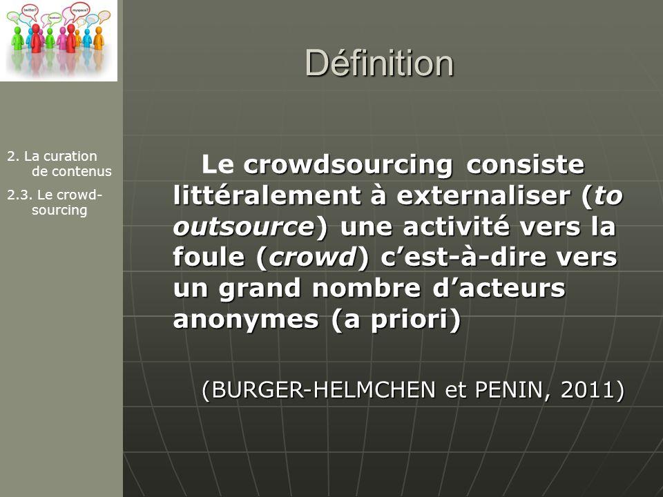 Définition 2. La curation de contenus. 2.3. Le crowd-sourcing.