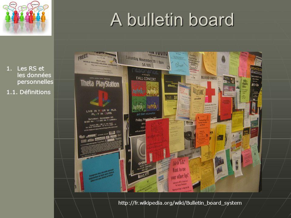 A bulletin board Les RS et les données personnelles 1.1. Définitions