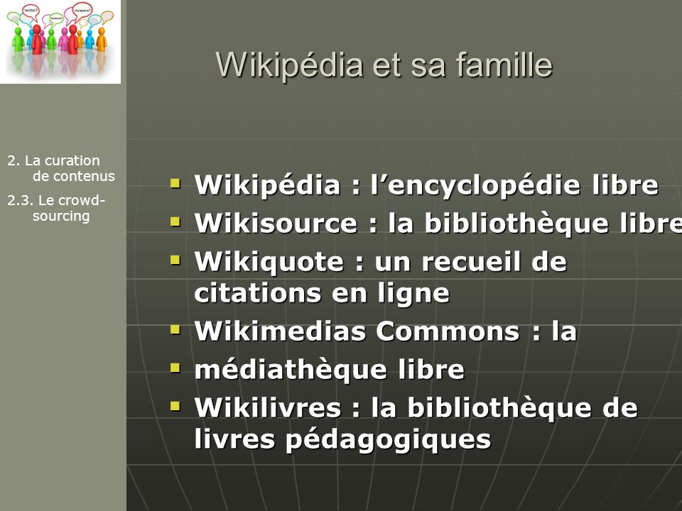 Wikipédia et sa famille