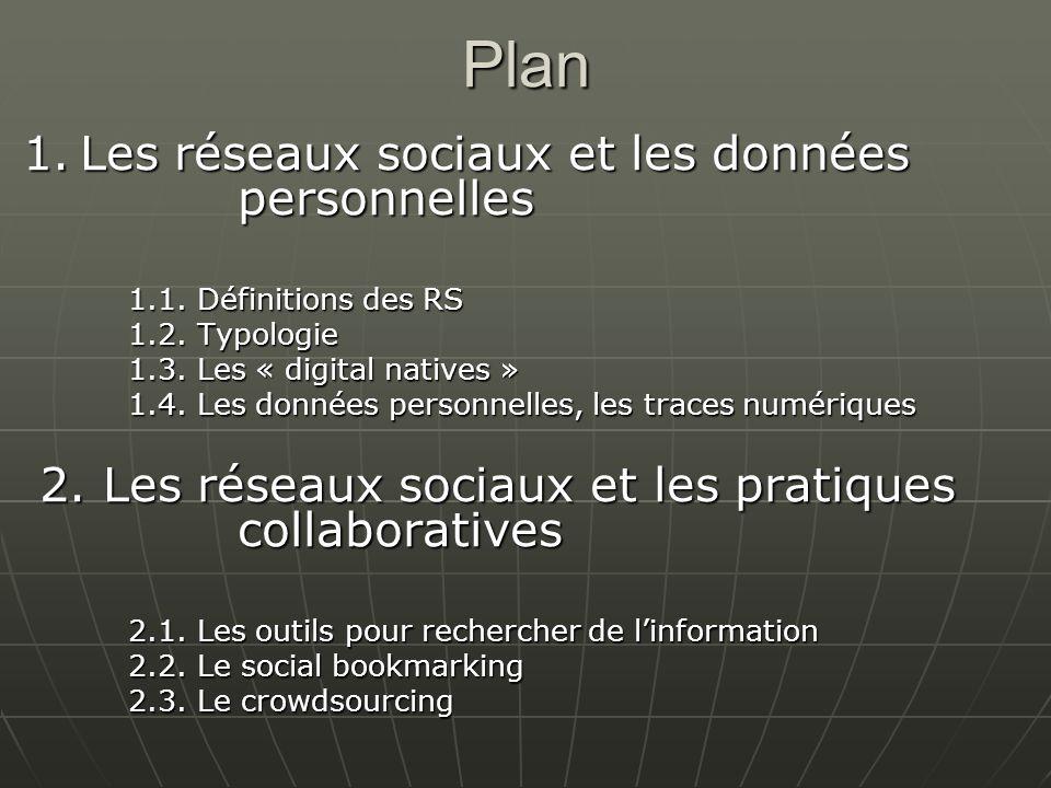 Plan 1. Les réseaux sociaux et les données personnelles