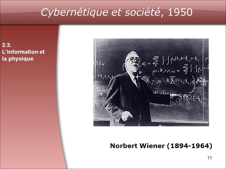 Cybernétique et société, 1950