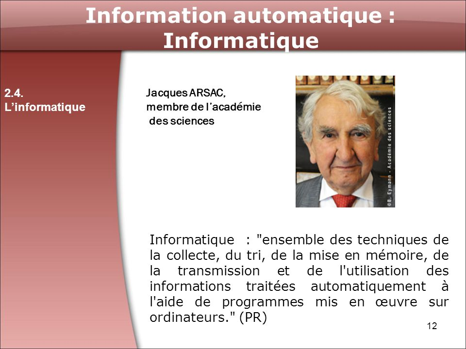 Information automatique : Informatique