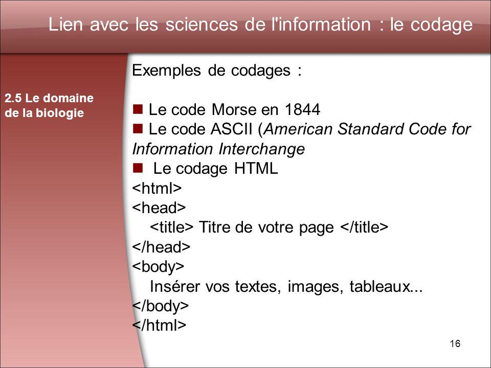 Lien avec les sciences de l information : le codage