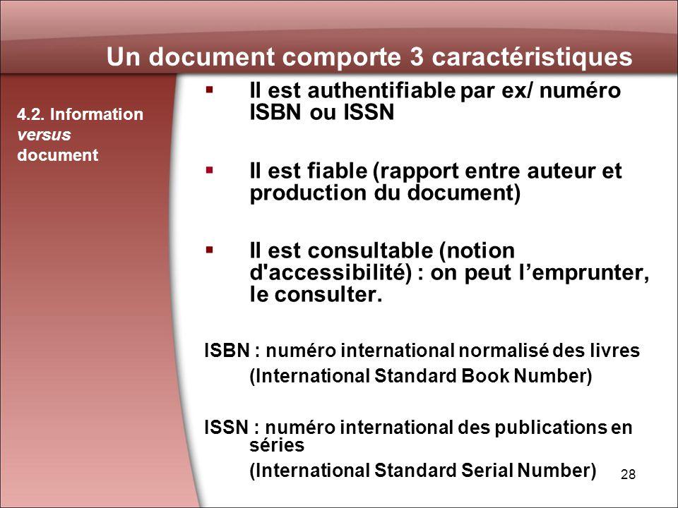 Un document comporte 3 caractéristiques