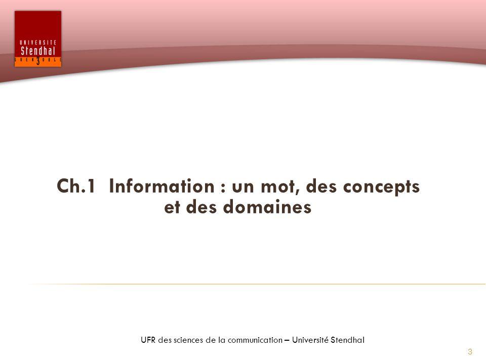 Ch.1 Information : un mot, des concepts et des domaines