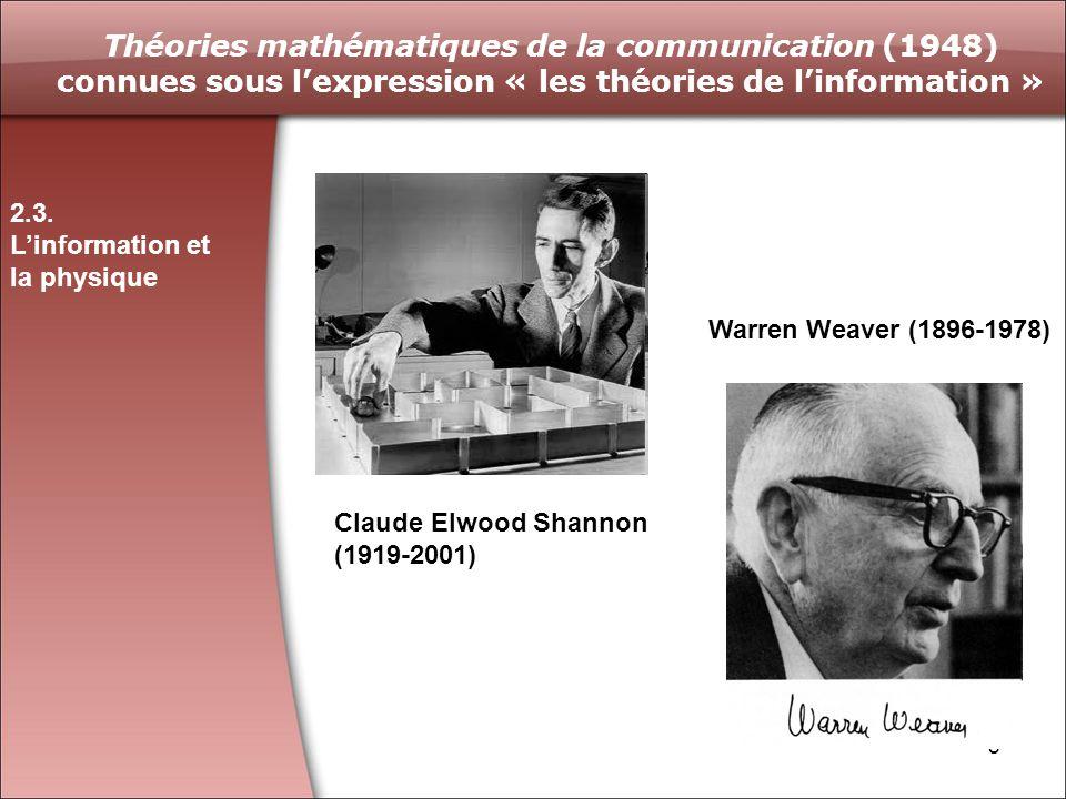 Théories mathématiques de la communication (1948) connues sous l'expression « les théories de l'information »