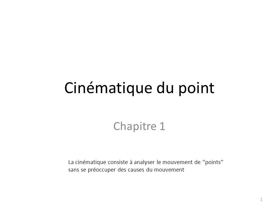 Cinématique du point Chapitre 1