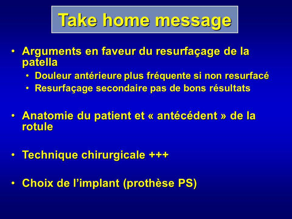 Take home message Arguments en faveur du resurfaçage de la patella