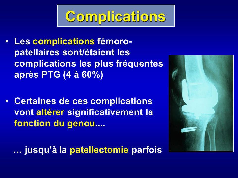 Complications Les complications fémoro-patellaires sont/étaient les complications les plus fréquentes après PTG (4 à 60%)