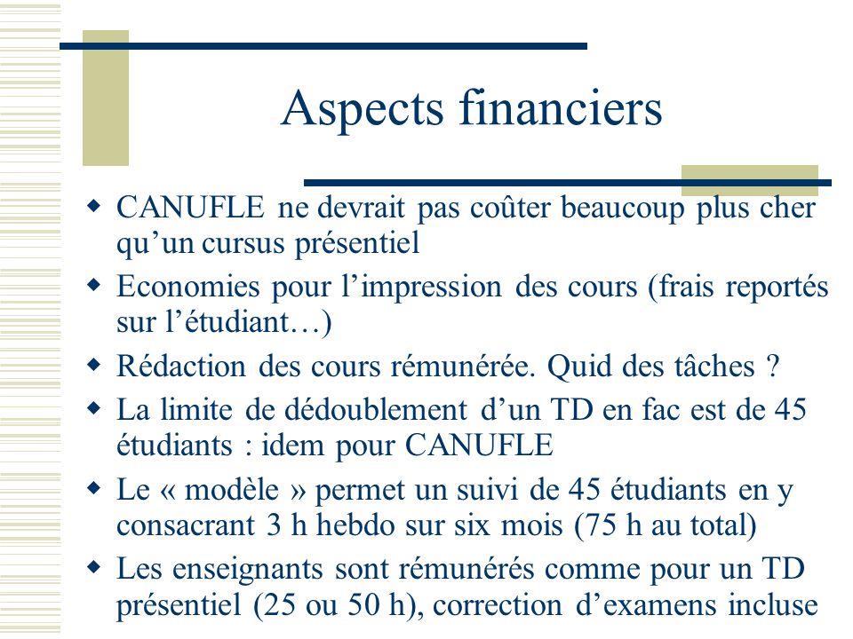 Aspects financiers CANUFLE ne devrait pas coûter beaucoup plus cher qu'un cursus présentiel.