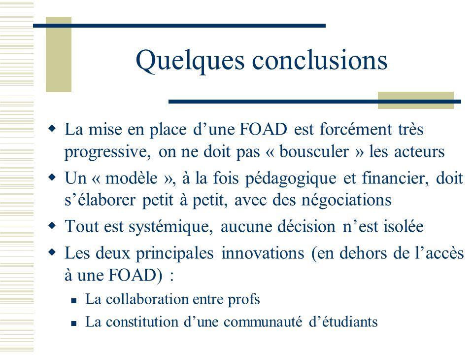 Quelques conclusions La mise en place d'une FOAD est forcément très progressive, on ne doit pas « bousculer » les acteurs.