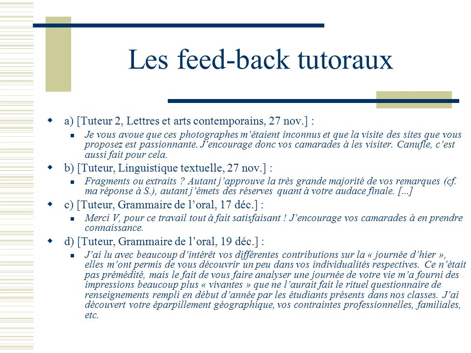 Les feed-back tutoraux