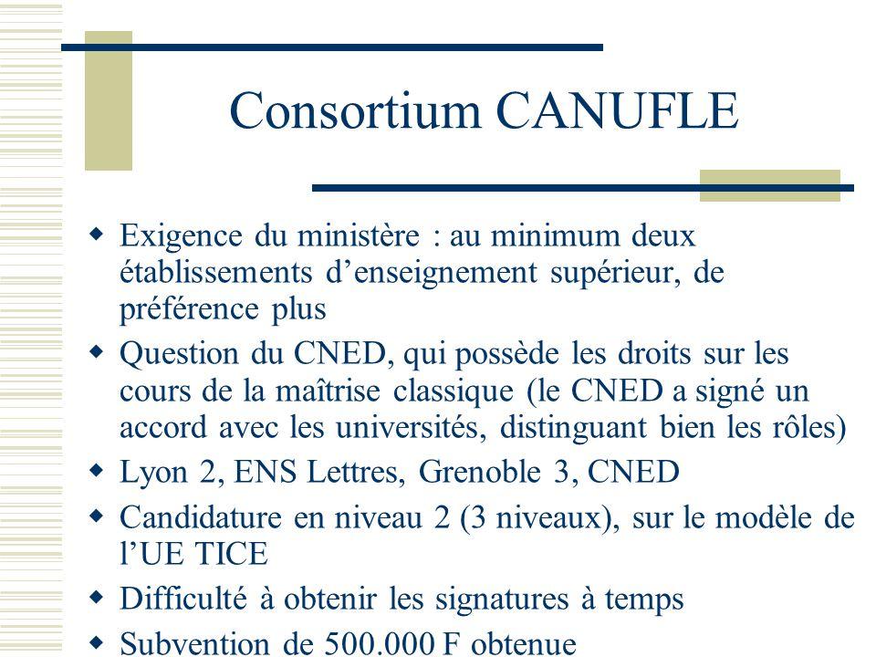 Consortium CANUFLE Exigence du ministère : au minimum deux établissements d'enseignement supérieur, de préférence plus.