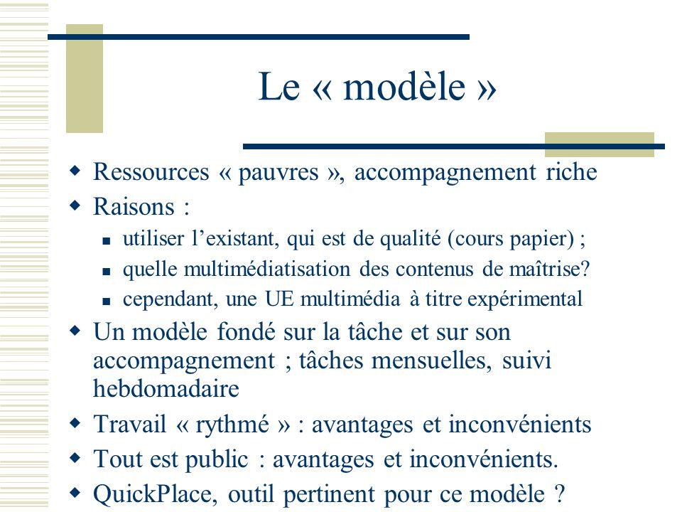 Le « modèle » Ressources « pauvres », accompagnement riche Raisons :