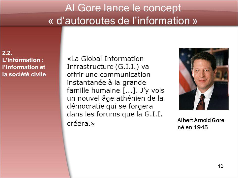 Al Gore lance le concept « d'autoroutes de l'information »