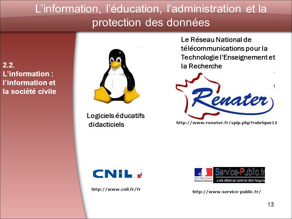 L'information, l'éducation, l'administration et la protection des données