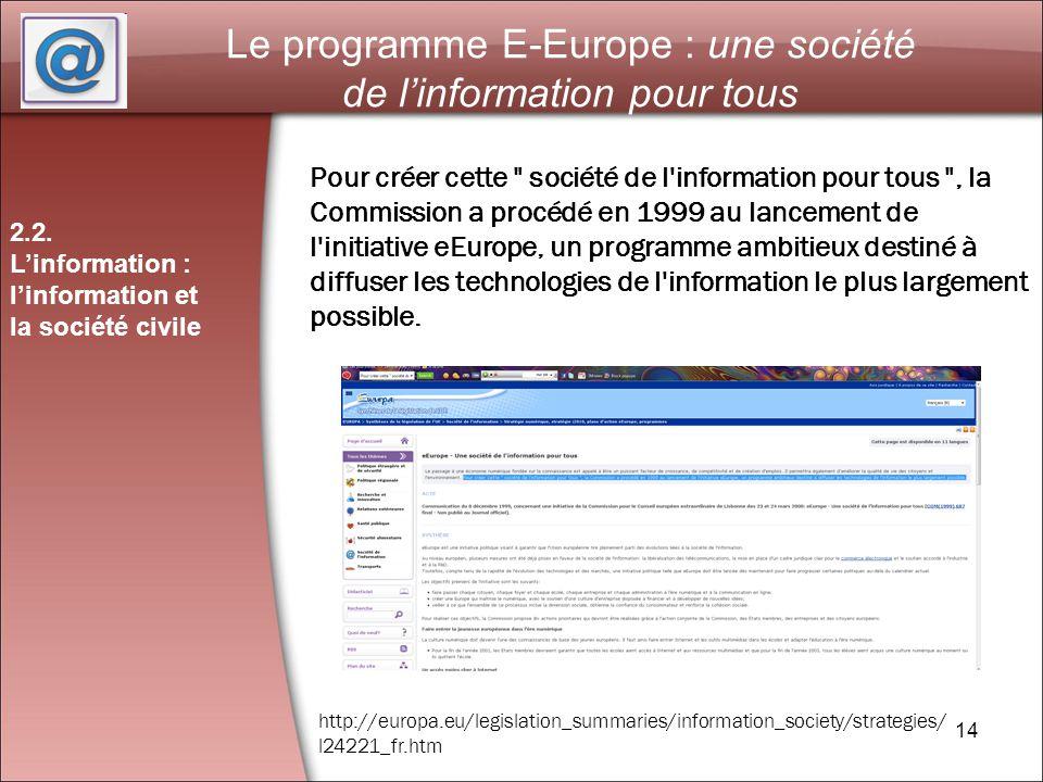 Le programme E-Europe : une société de l'information pour tous