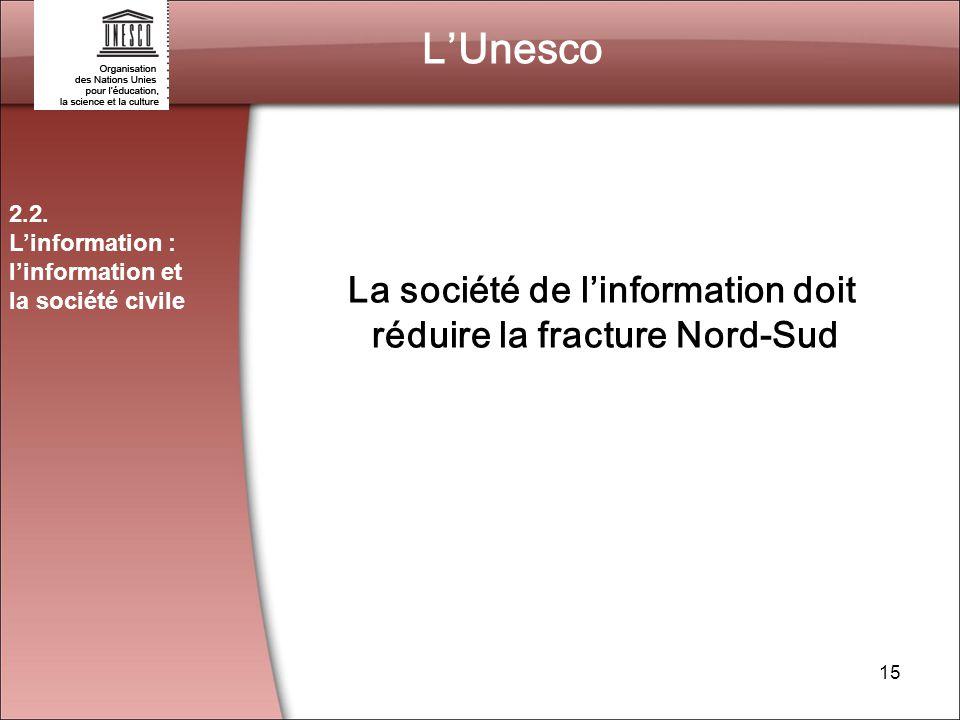 La société de l'information doit réduire la fracture Nord-Sud