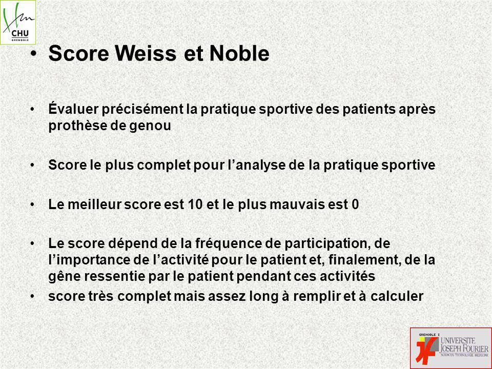 Score Weiss et Noble Évaluer précisément la pratique sportive des patients après prothèse de genou.