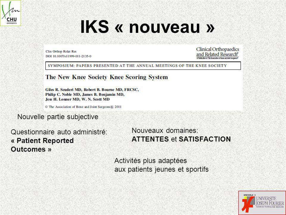IKS « nouveau » Nouvelle partie subjective Nouveaux domaines: