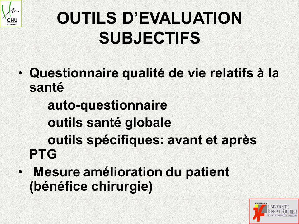 OUTILS D'EVALUATION SUBJECTIFS