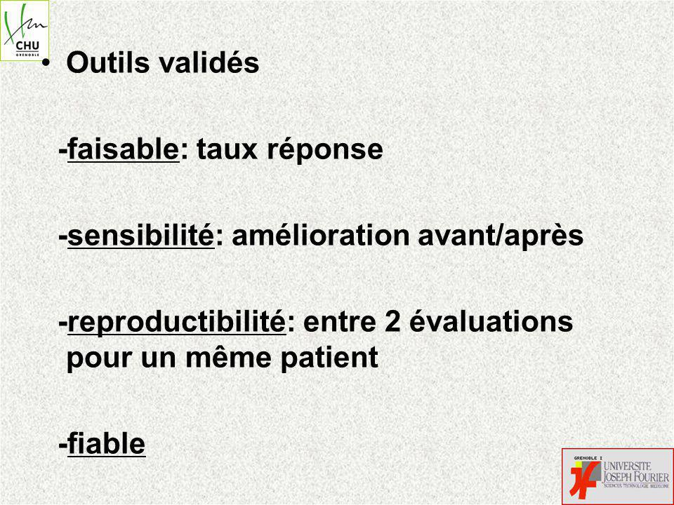 Outils validés -faisable: taux réponse. -sensibilité: amélioration avant/après. -reproductibilité: entre 2 évaluations pour un même patient.