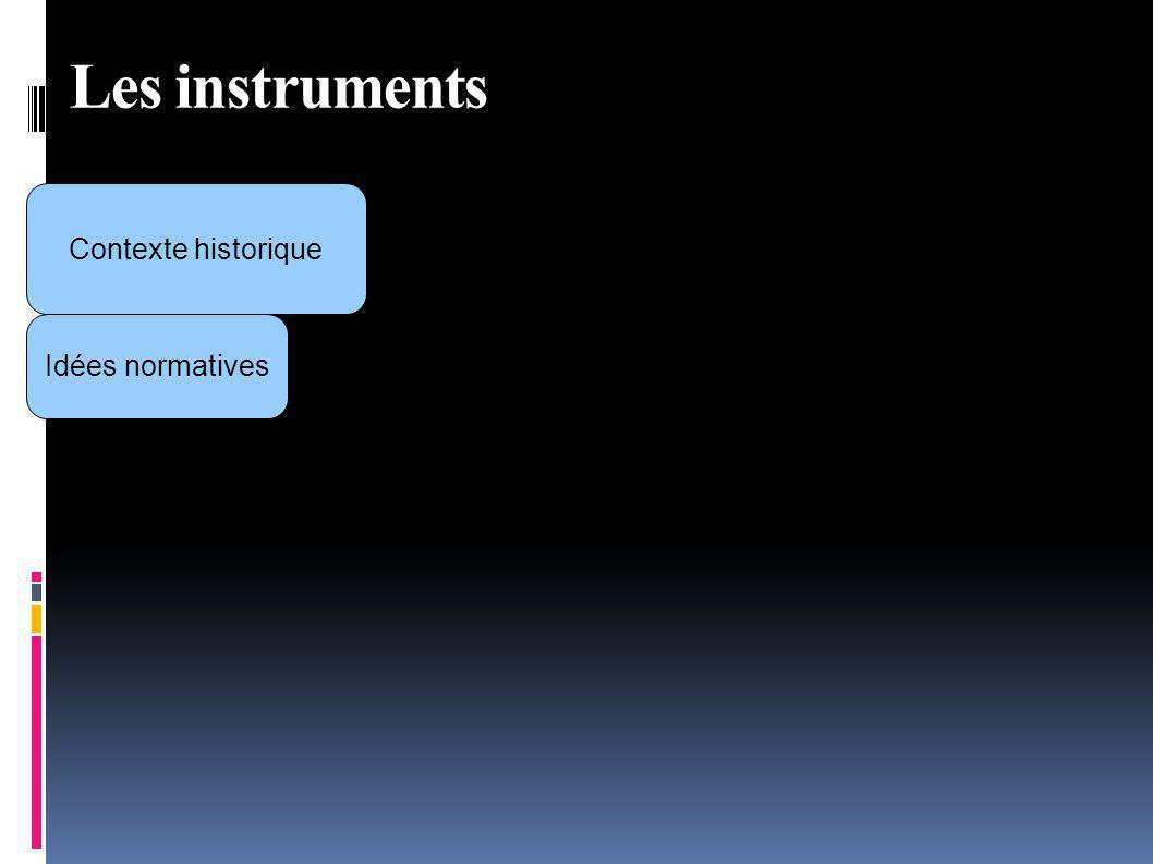 Les instruments Contexte historique Idées normatives