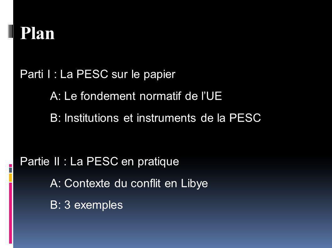 Plan Parti I : La PESC sur le papier A: Le fondement normatif de l'UE