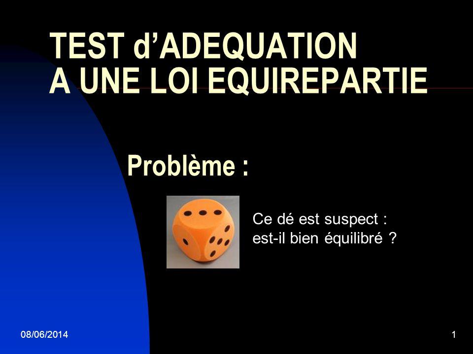 TEST d'ADEQUATION A UNE LOI EQUIREPARTIE