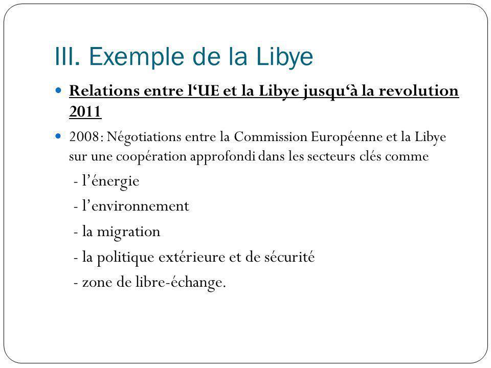 III. Exemple de la Libye Relations entre l'UE et la Libye jusqu'à la revolution 2011.
