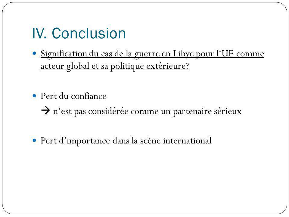IV. Conclusion Signification du cas de la guerre en Libye pour l'UE comme acteur global et sa politique extérieure
