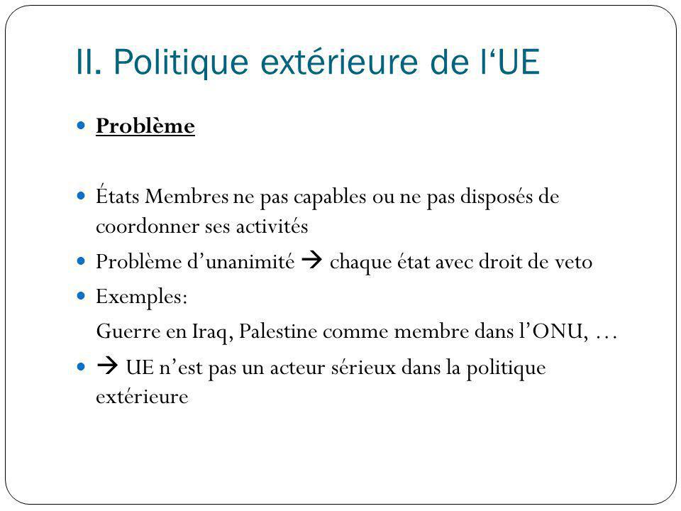 II. Politique extérieure de l'UE