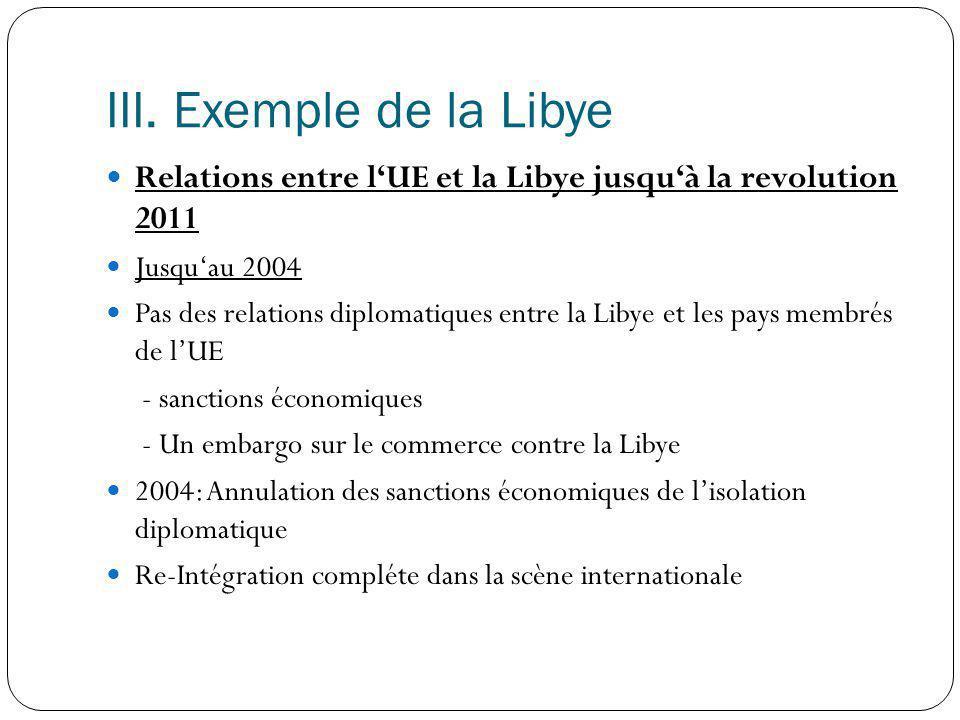 III. Exemple de la Libye Relations entre l'UE et la Libye jusqu'à la revolution 2011. Jusqu'au 2004.