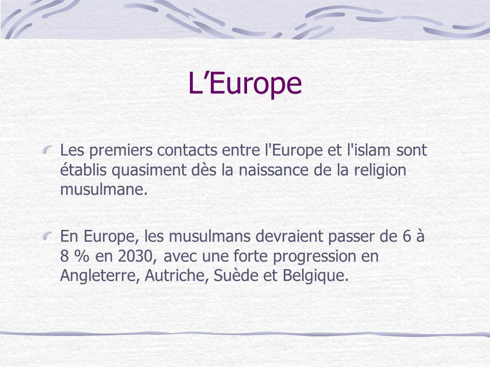 L'Europe Les premiers contacts entre l Europe et l islam sont établis quasiment dès la naissance de la religion musulmane.