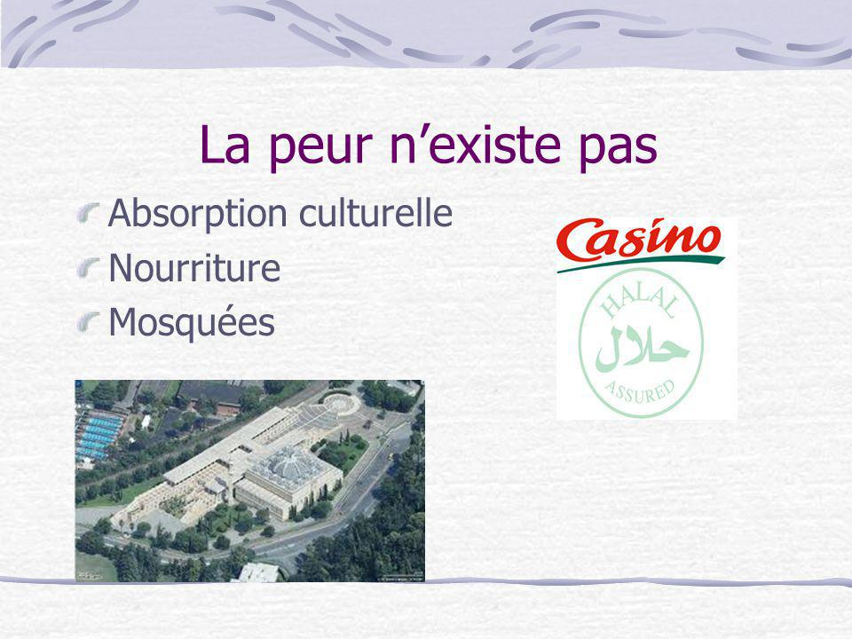 La peur n'existe pas Absorption culturelle Nourriture Mosquées
