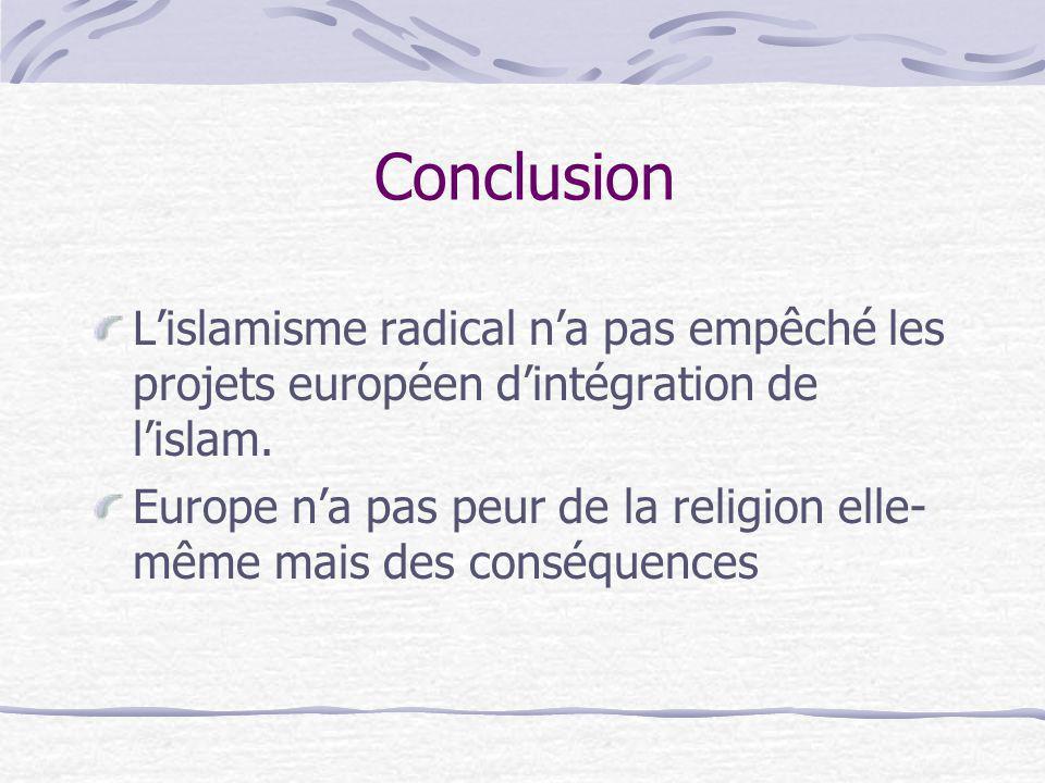 Conclusion L'islamisme radical n'a pas empêché les projets européen d'intégration de l'islam.
