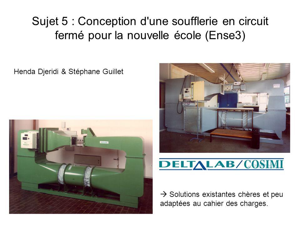 Sujet 5 : Conception d une soufflerie en circuit fermé pour la nouvelle école (Ense3)