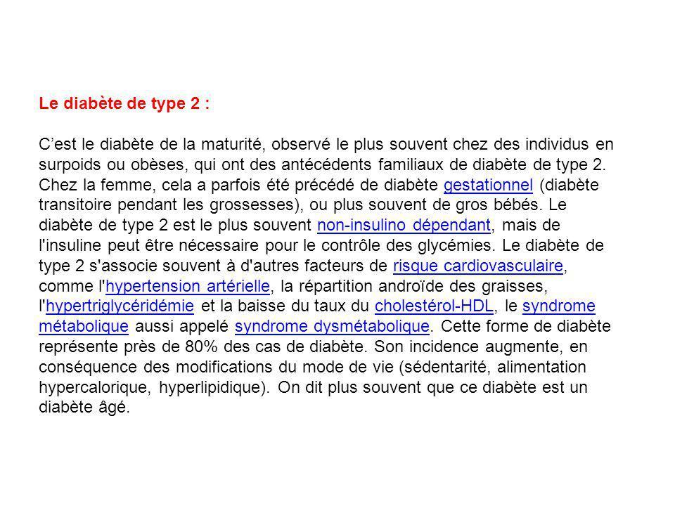 Le diabète de type 2 :