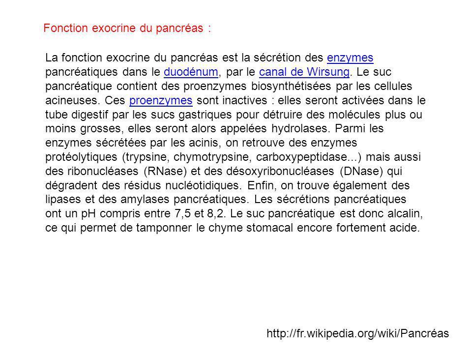 Fonction exocrine du pancréas :