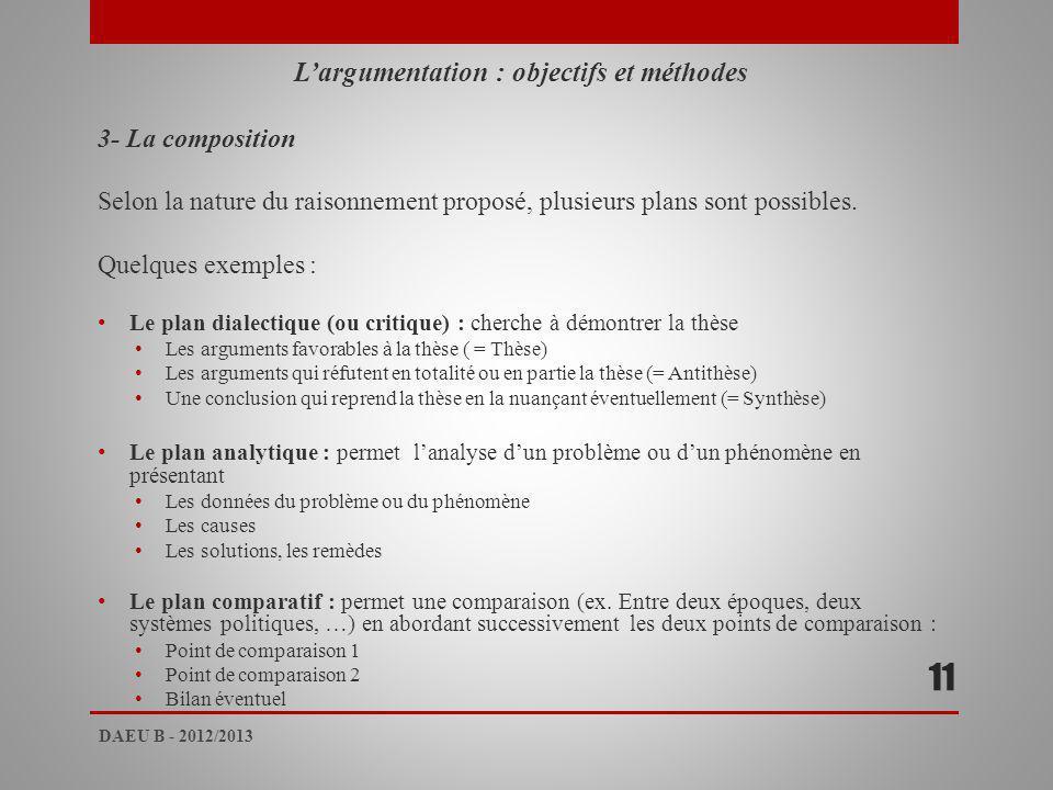 L'argumentation : objectifs et méthodes