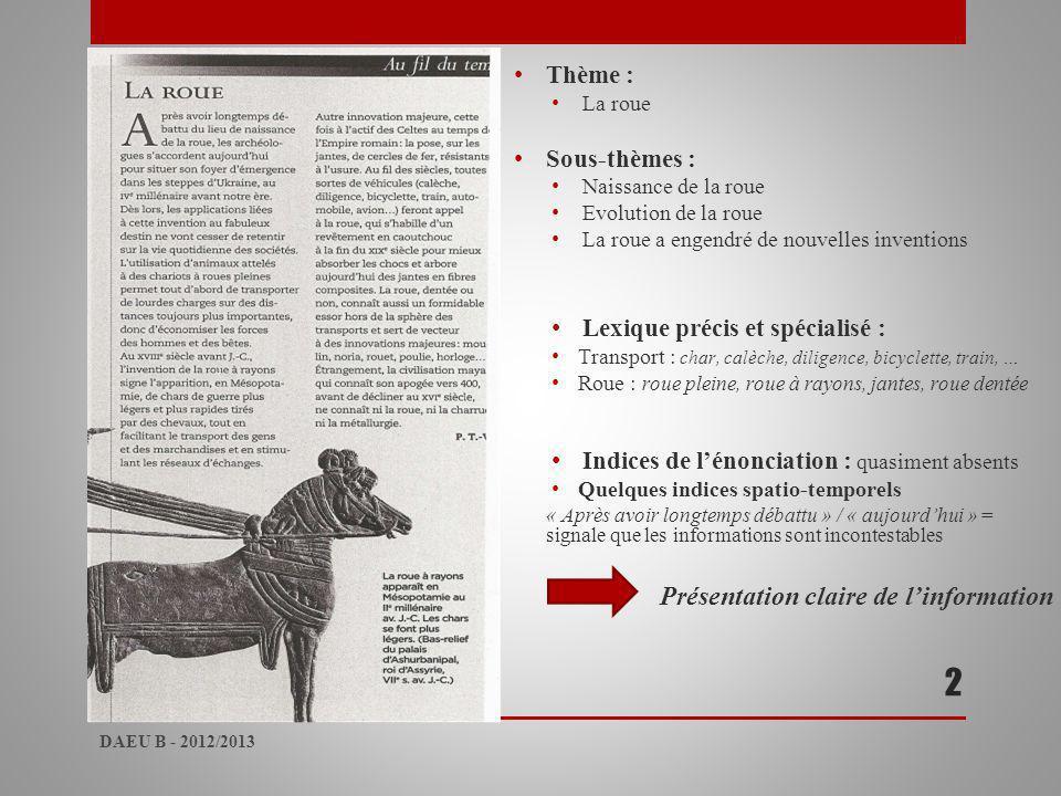 2 Thème : Sous-thèmes : Lexique précis et spécialisé :
