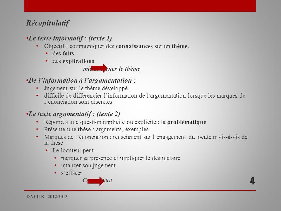 4 Récapitulatif Le texte informatif : (texte 1)
