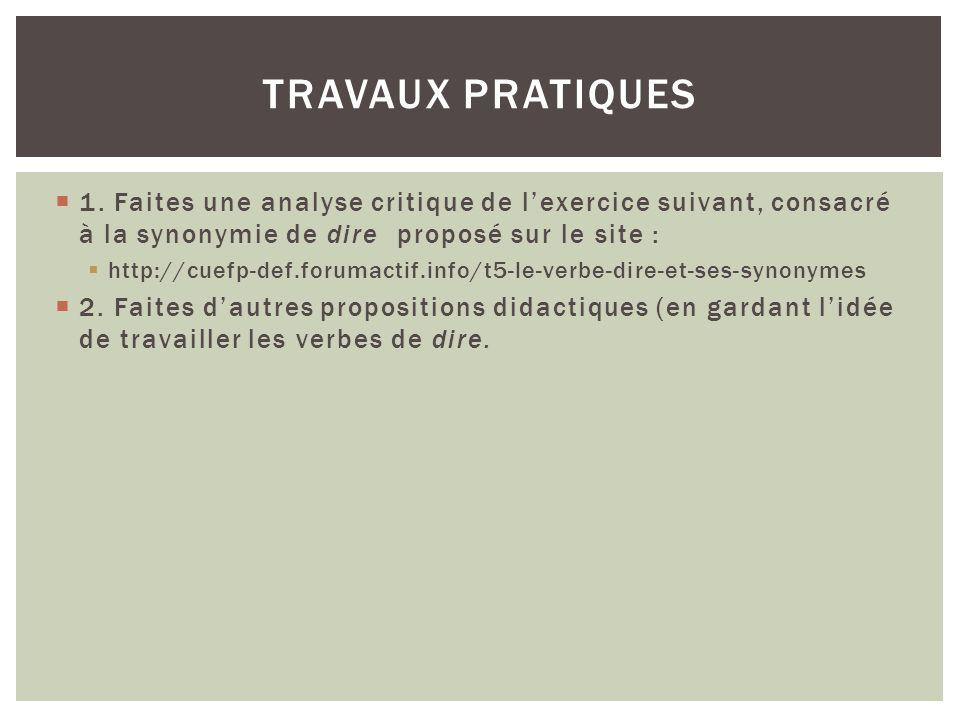 Travaux Pratiques 1. Faites une analyse critique de l'exercice suivant, consacré à la synonymie de dire proposé sur le site :