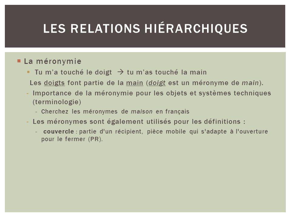 Les relations hiérarchiques