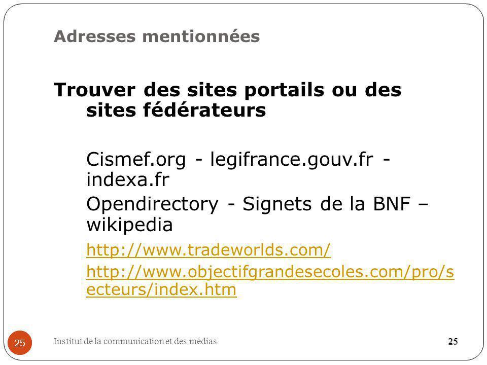 Trouver des sites portails ou des sites fédérateurs