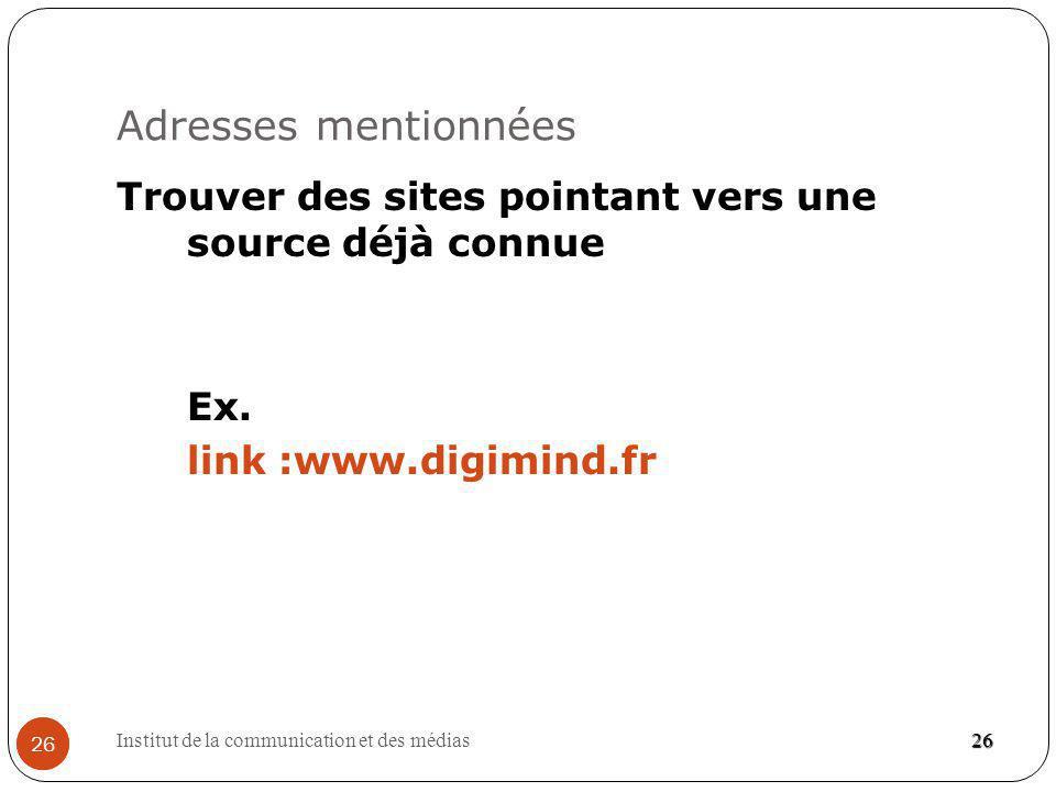 Adresses mentionnées Trouver des sites pointant vers une source déjà connue Ex. link :www.digimind.fr