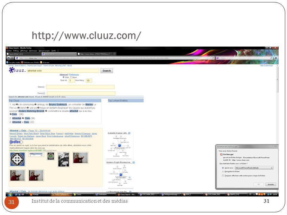 http://www.cluuz.com/ 31 Institut de la communication et des médias 31